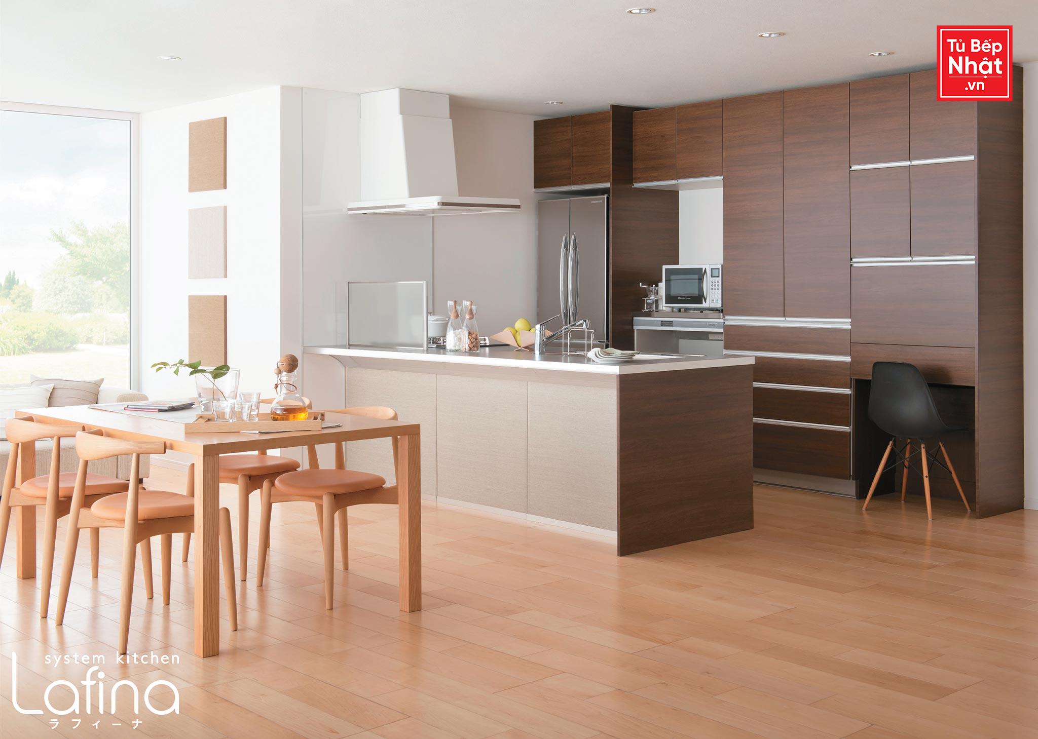 Tủ bếp với bàn đảo